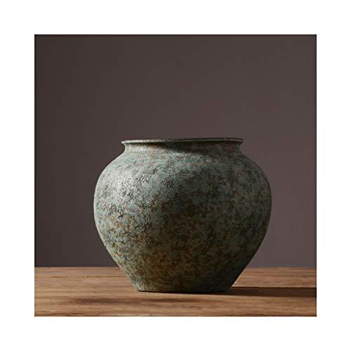 MSH Keramische Bodenvase Dekoration im chinesischen Stil Retro Vintage Vase Startseite Wohnzimmer Dekoration (Size : 28cm*26cm)