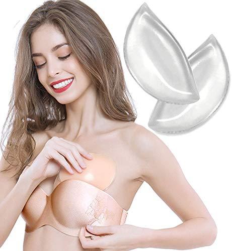 Keven Bikini Einlagen Dreieck, 2X Silikon-Gel Einlagen unter BH, Brust Enhancer, A bis C Körbchengröße (120g/Paar, Transparent Weiß)