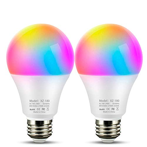 Lampadina Intelligente, Lampadine WiFi Smart LED E27 RGB Sveglia Luce Calda, Lampadina Dimmerabile Colore Regolabile Compatible Amazon Echo Alexa Google Home e Android iOS APP Multicolore - 2Pack