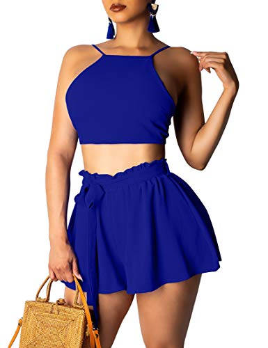 Kaximil Women's Casual 2 Piece Outfits Set Sexy Tie Up Crop Top Ruched Shorts Club Wear Jumpsuit,X-Large,Royal Blue