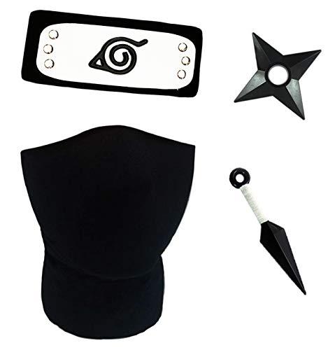 KuKiee Unisex Naruto Kakashi Cosplay Leaf Village Stirnband Maske Set - Schwarz - Einheitsgröße