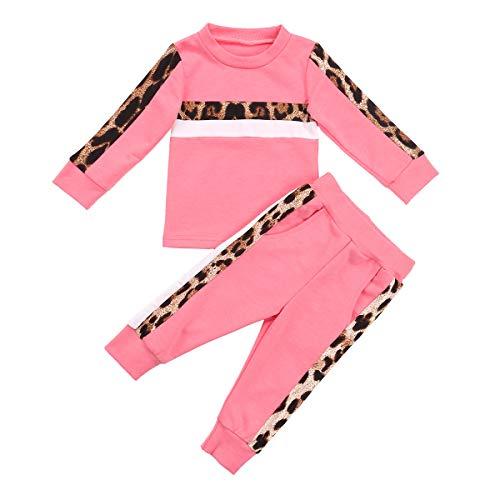 Carolilly 2 PCS Set Completo Sportivo Bambina Tuta Ragazza in Cotone Felpa Senza Cappuccio Stampa Leopardata+ Pantaloni