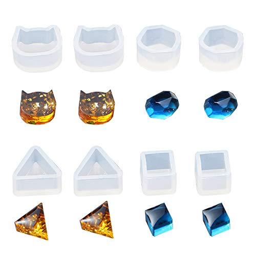 Daimay 16PCS Stampo in Resina siliconica Stampi per colata di Gioielli Stampo per orecchino a Forma di Piccolo Orecchio Trasparente per Creazione Artigianale di Gioielli Fai-da-Te - 4 Forme