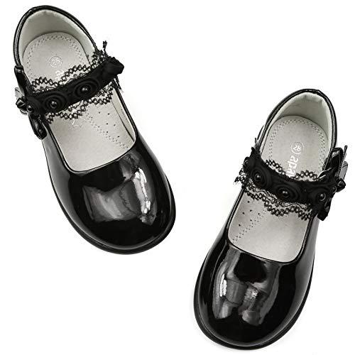 Apawwa Scarpe Bambina Scarpeda Ragazza Eleganti Bianche NereScarpe Pelle Scarpe da Festa Scarpe da Sera Scarpe da Chiesa Scarpe da ScuolaMary Jane Basse per Bambine Taglia 32-37
