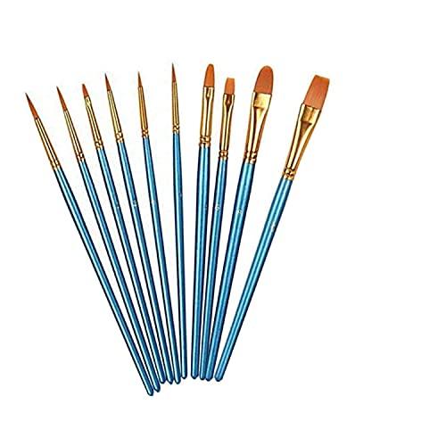 ZHjuju Pinceles,10 Piezas Conjunto de Pinceles de Pintura de Artista Pinceles para Pintura para niños, Principiantes, Pintura artística, Pintura Facial, Acuarela, Pintura de uñas (Azul).