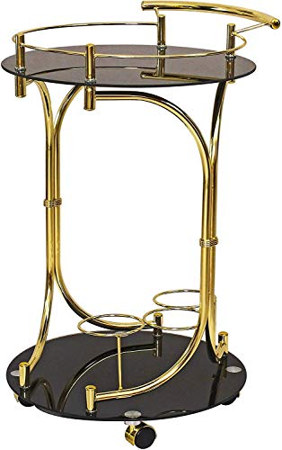 Spread Spain Metallic Gold Bar Serving Cart Trolley Tea Bar Contemporary Style Two Frosted Glass Shelves Drink Liquor Rolling Rack Beverage Wine Tray/Service Trolley/Bar Trolley(Gold)