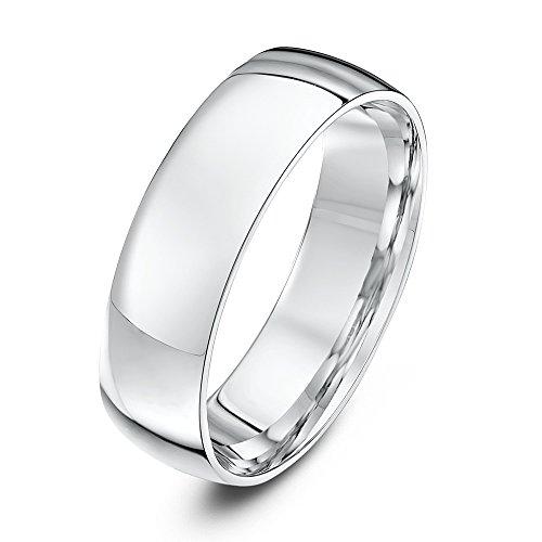 Theia Unisex Heavy Court Shape Polished 9 ct White Gold 6 mm Wedding Ring - Size V