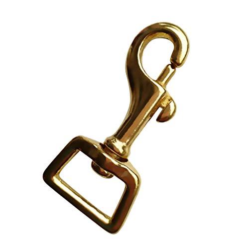 Inzopo Gancho de latón de ojo cuadrado resistente para uso con correa de perro y correa de patas de caballo – dorado, 14 x 58 mm