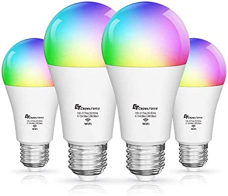 CT CAPETRONIX Smart Alexa Light Bulbs Works with Alexa Echo Google Home Assistant, IFTTT and Siri (No Hub Required), A19 E26 WiFi LED RGBCW Multicolor Dimmable, Voice Remote Group Control, 2 Pack
