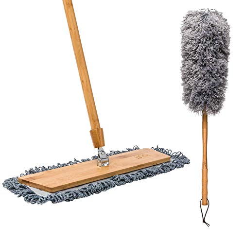 """18"""" Natural Bamboo Microfiber Mop + Duster 