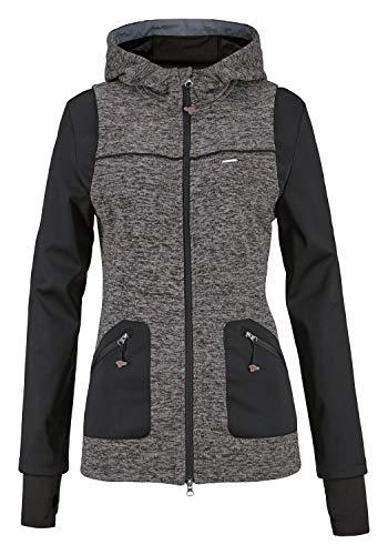 KangaROOS Damen Strickfleece Jacke Strickjacke Fleecejacke (grau-schwarz, 32/34 (XS))