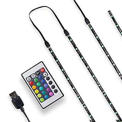 B.K.Licht Multi Color LED TV Backlight, USB LED Strip Light with RGB Remote Control, Home Cinema Lighting, 4 LED Strips for TV, 40-55 - 60 inches, USB Powered, Multi Color, Eco-Friendly