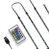 B.K.Licht bande LED TV 2m, guirlande lumineuse dimmable adhésive avec télécommande et câble USB, lumière décorative blanche et multicolore, éclairage intérieur, intensité variable