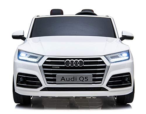 Auto per Bambini Audi Q5 S-Line 2 POSTI Reali Macchina Elettrica 12 Volt 10 ah Batteria Potenziata con Telecomando 2.4 GHz Aria CONDIZIONATA Sedile in Pelle Monitor Touch Screen MP4 (Bianco)
