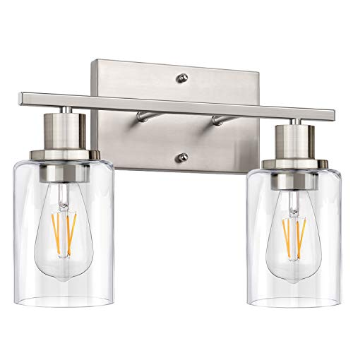 2-Light Bathroom Vanity Light Fixtures, Modern Wall Lighting with Clear Glass Shade, Brushed Nickel Finished Wall Sconce Lighting, Porch Wall Lamp for Mirror, Living Room, Bedroom, Hallway( E26 Base)
