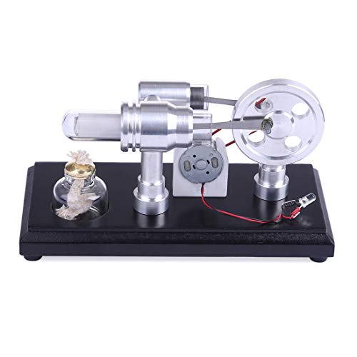 ZUJI Micro Motor Stirling Doble Cilindro Stirling Engine Kit Combustión Externa Stirling Motor con Generador