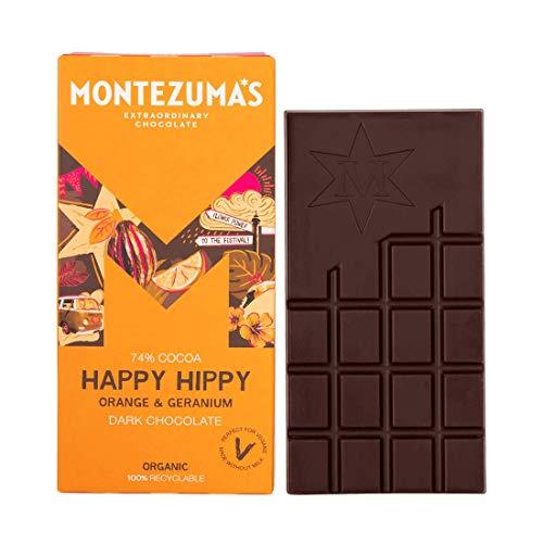 (Pack Of 12) Montezuma's Chocolate - Organic Dark Chocolate with Orange & Geranium - Emperor Bar - (100g)