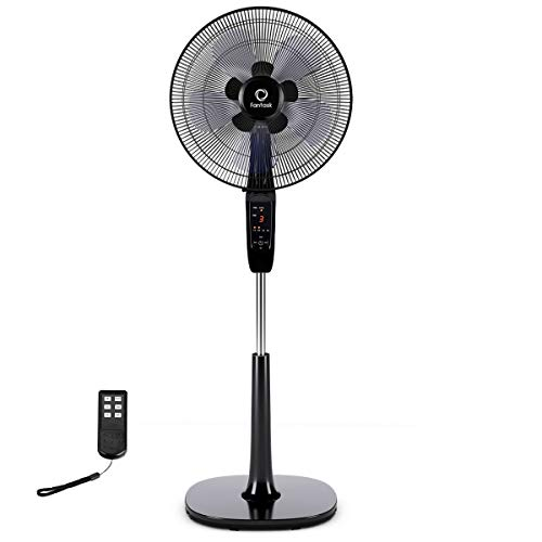 COSTWAY Pedestal Fan, 16-inch Oscillating Stand Fan Adjustable Cooling Fan Whisper Quiet with Remote Control, Dual 5 Blades, 15 Hours Timer Setting for Home and Office (Black)