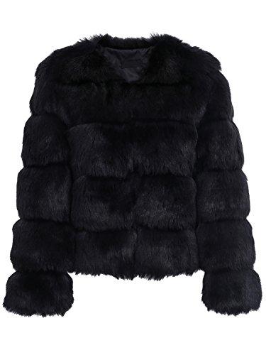Melegant Damen Winter Pelz Mantel Elegant Warm Kunstfell Jacke Kurz Casual Coat, Schwarz, 34
