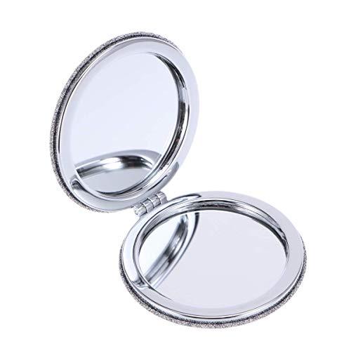 Leilims 1pc Tissu Broderie Pliant Miroir Rond Double Face Maquillage Miroir de Poche 2X / 1X Miroir