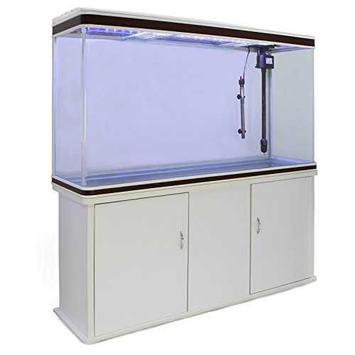MonsterShop 300 Liter Heimaquarium Aquarium mit Unterschrank Aquariumkobination mit LED-Licht in Weiß 70cm H x 120cm B x 39cm T