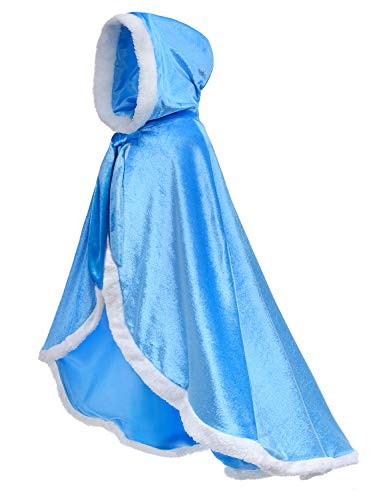 Party Chili Fur Princess Hooded Cape Cloaks Costume for Girls Dress Upp Blue 6-7 Years(130cm)