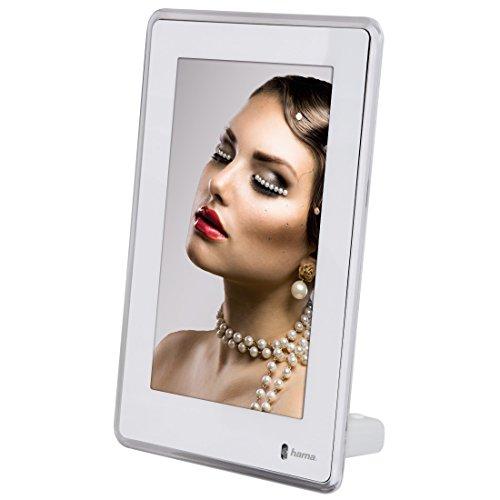 Hama Vittoria Digitaler Porträtrahmen 15,24 cm (6 Zoll), mit Slim-TFT-LED-Display, Dia-Show, Bildrotation, Alarmfunktion und Nachtmodus, weiß