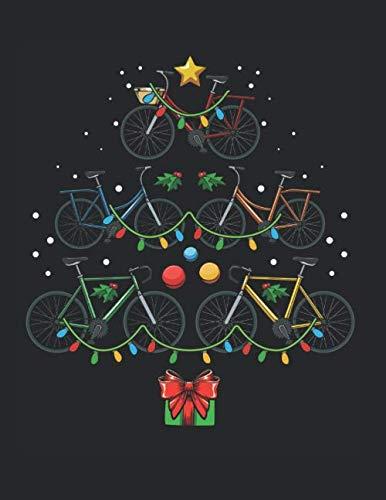Fahrrad Weihnachtsbaum Fahrradfahrer Lustig: A4+ Softcover 120 beschreibbare karierte Seiten   22 x 28 cm (8,5x11 Zoll)