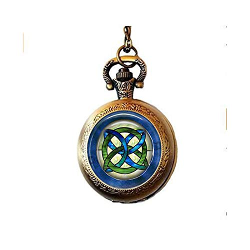 lukuhan Celtic Wedding Jewelry - Stained Glass Green and Blues Celtic Knot - Celtic Knot Pendant - Irish Jewellery - Celtic Bridal Jewelry Pocket Watch Necklace