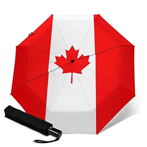 ZEH Premium - Paraguas resistente al viento, diseño de la bandera canadiense de Canadá, hoja de arce, plegable, automático, tres pliegues, paraguas compacto, ligero y resistente al sol, FACAI