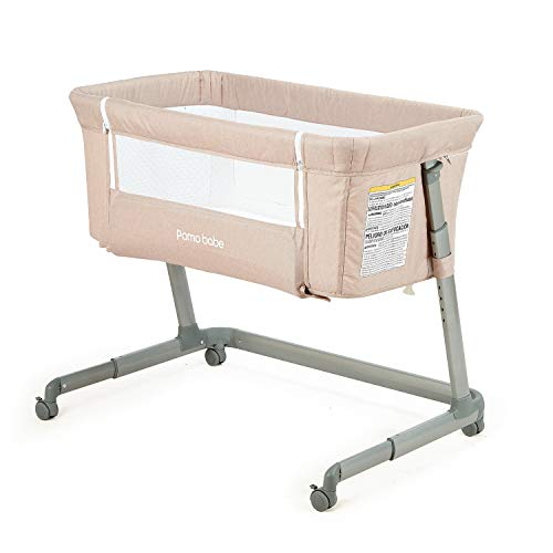 Pamobabe Bedside Sleeper,Baby Bed to Bed,Babies Crib Bed, Easy Folding Portable Crib (Khaki)
