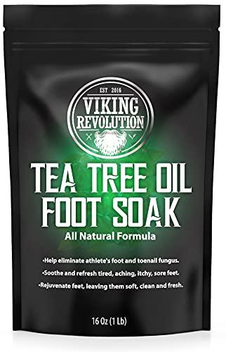 Tea Tree Oil Foot Soak with Epsom Salt - Athletes Foot, Toenail Fungus Treatment. Detox Foot Bath Soak for Foot Odor and Soothing Soreness
