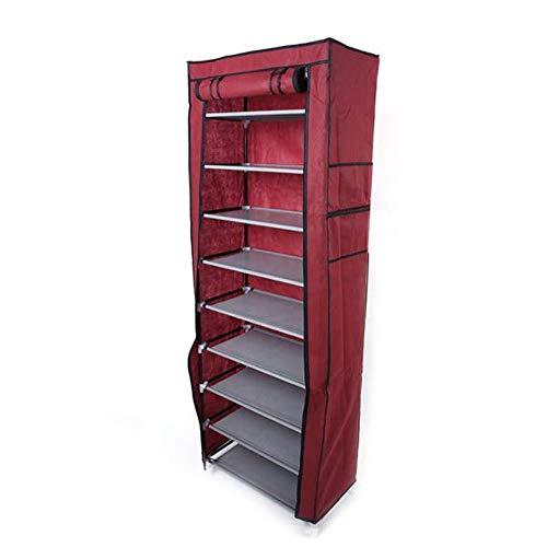 US UK Warehouse 10 capas 9 rejilla zapatero estante almacenamiento armario organizador portátil envío gota disponible-rojo, Estados Unidos