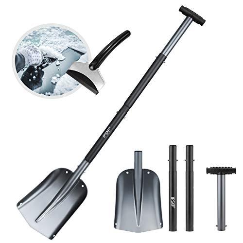 IPSXP Schneeschaufel, Aluminiumlegierung Leichte Schneeschaufel für Auto, Camping und andere Outdoor-Notfälle Abnehmbare vierteilige Struktur (Schwarz)