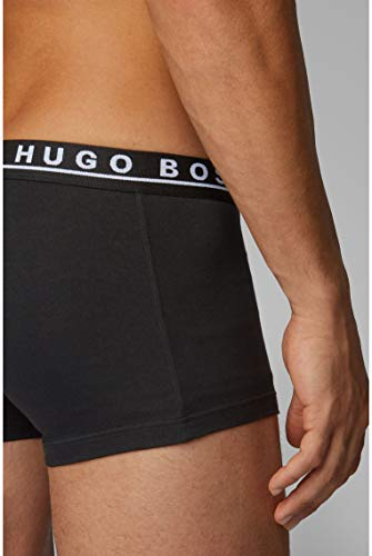 BOSS Mens Trunk 3P CO/EL Three-Pack of Stretch-Cotton Trunks with Logo waistbands Black