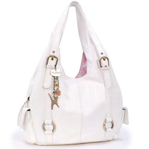 Catwalk Collection Handbags - Leder - Umhängetasche/Schultertasche - ALEX - Weiß