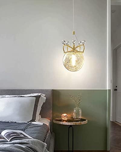 Lampadario nordico con paralume in vetro, lampada a sospensione a soffitto a corona da comodino a LED, lampada a sospensione a sospensione principessa a testa singola con dimmer tricolore, altezza