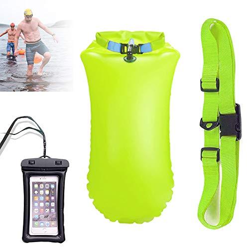Boa Gonfiabile 20L - Boa per nuoto per adulti con sacca stagna - Boa per nuoto in acque libere e triathlon Boa galleggiante gonfiabile - Borsa impermeabile per la conservazione di sicurezza (Giallo)