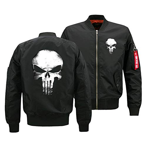 Hkokjfrt Punisher Pullover Herbst und Winter Mantel Jacke Fluganzug Winddicht Jacke Baumwolle lässig Mantel (Color : Black, Size : S)