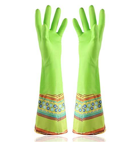 SD&EY 2 Pack Dikke Rubber Duurzame Latex Rubber Wassen Lange Handschoenen Plus Fluweel Waterdichte Keuken Chores