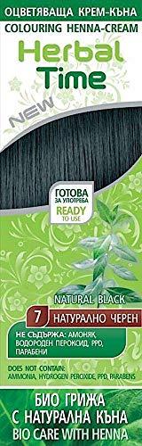 Crème colorante capillaire avec du Henné et l'extrait d'ortie - Couleur Noir Naturel 7, Sans Ammoniaque, Sans Sulfate, Sans Parabens