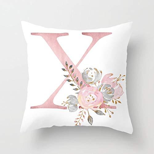 AtHomeShop 45 x 45 cm, funda de cojín decorativa de poliéster con letra X en inglés con flor, suave y cómoda para salón, dormitorio, oficina, sofá, decoración, color blanco y rosa, estilo 24