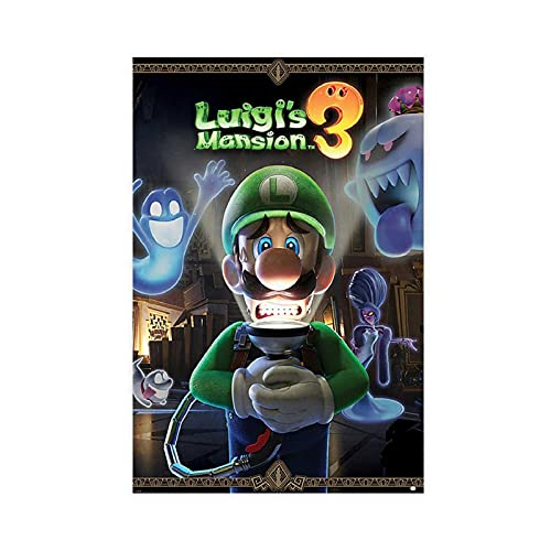 Luigi's Mansion 3 Poster Canvas Poster Wall Art Decor Print Picture Paintings for Living Room Bedroom Decoration Unframe-style112×18inch(30×45cm)