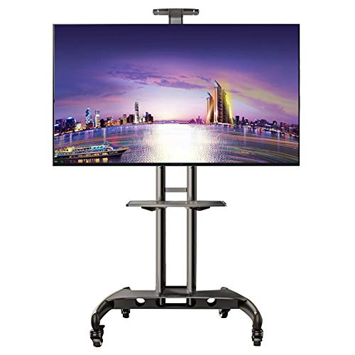 ERRU Mobile TV Stand with Mount/Wheels, Rolling TV Cart for 32-65 inch LCD LED Flat Screen, Height Adjustable TV Trolley (Support 45kg)
