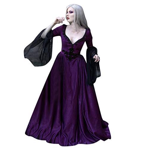 FRAUIT Carnevale Abito Donna Medievale Lungo Halloween Costume Gothic Dress Woman Cosplay Abiti Ragazza Lunghi Eleganti da Sera Vestiti Invernali Eleganti Taglie Forti Vestito Plus Size Oversize