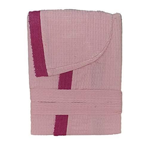 DEMONA Accappatoio Unisex in Spugna Nido D' Ape con Tasche Cappuccio Cotone Uomo Donna Offerta S M L XL XXL Vari Colori Tinta Unita SPEDIZIONE Gratuita ((Rosa, L)