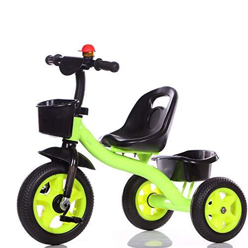 HHORD Tricycles pour Enfants avec Cloche De Bicyclette, Siège Réglable, Structure De Triangle De Sécurité, Cadeau pour Garçons Et Filles,Vert