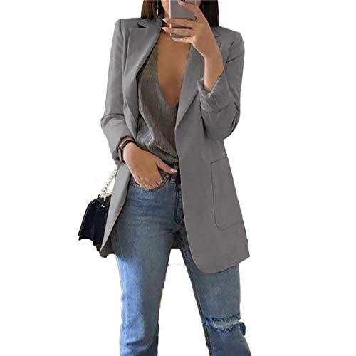 Women's Chic Trendy Professional Attire Long Sleeve Blazer Jacket Gray Medium