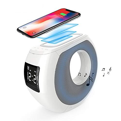Bluetooth luidspreker met QI draadloze lader NFC pairing LCD tijdweergave wekker USB opladen voor iPhone 8 iPhone 8 Plus iPhone X iPad Samsung Google Pixel XL en andere smartphones