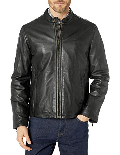 Cole Haan Men's Leather Jacket, Black, Large